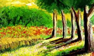 森林中的大树美丽油画摄影图片
