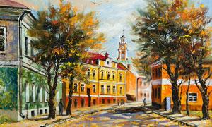 秋天街道上的大树油画图片素材