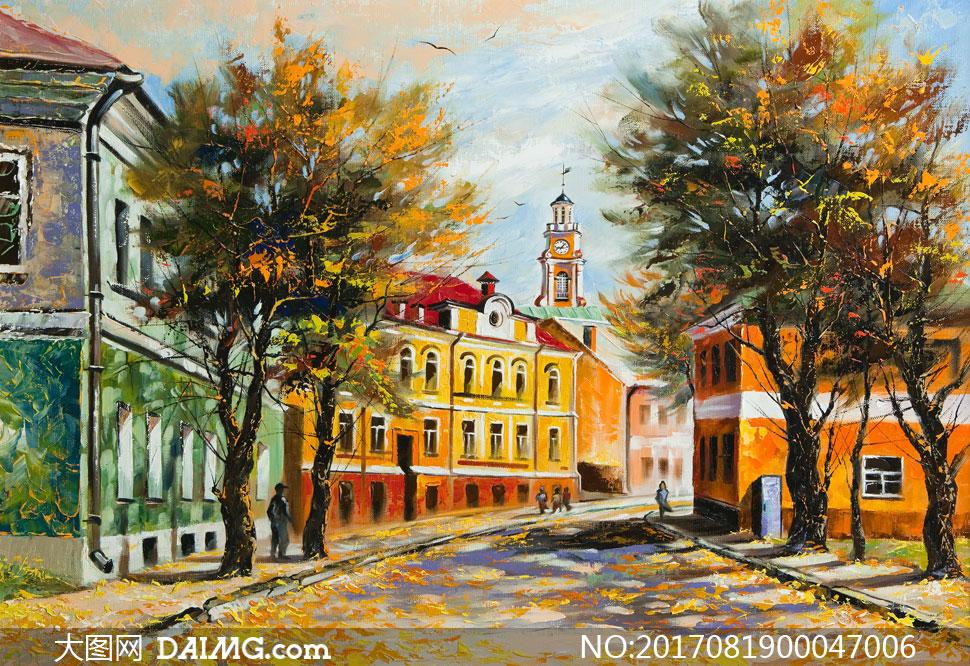 秋天街道上的大树油画图片素材图片