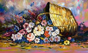 花篮中的鲜花手绘油画图片素材