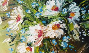 花瓶中的雏菊油画设计图片素材