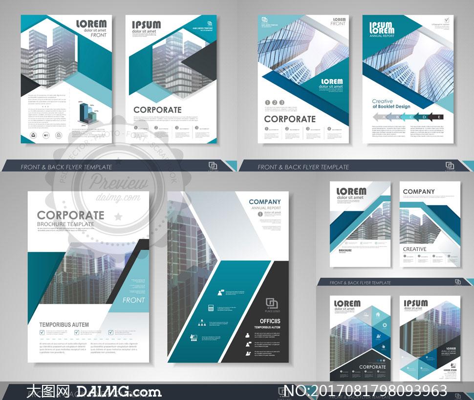 蓝黑配色企业画册页面版式矢量素材