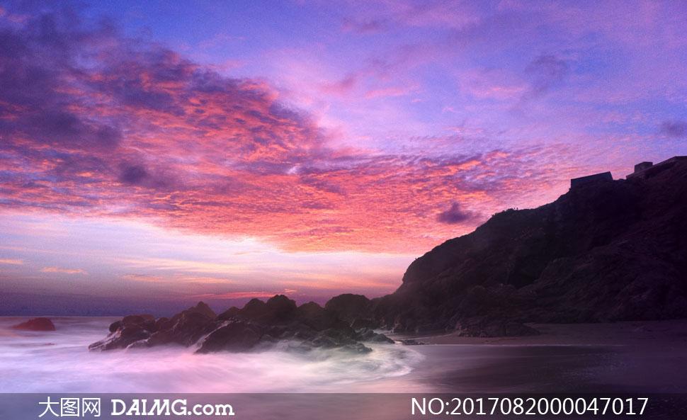 夕阳下美丽的海岛风景摄影图片 - 大图网设计素材下载