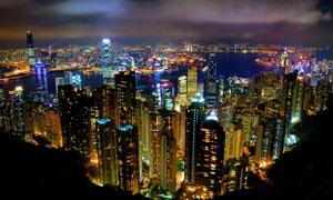 乌云笼罩下的香港夜景摄影高清图片