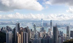 蓝天白云下的香港风光摄影高清图片