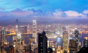 黄昏时分香港风光全景摄影高清图片