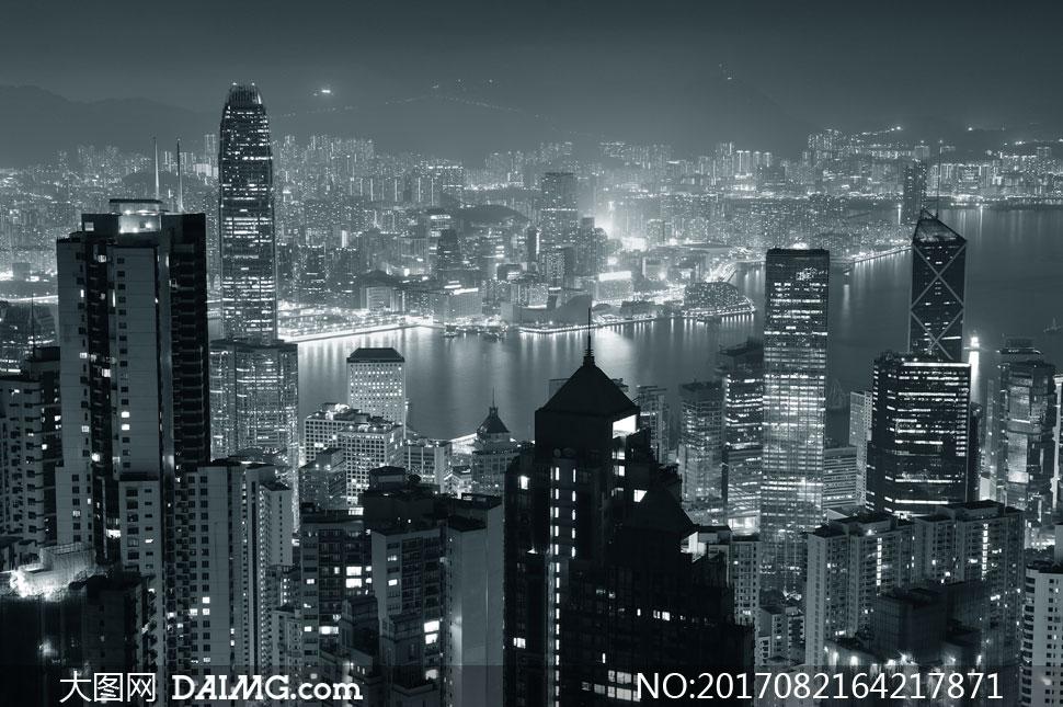 鸟瞰视角香港夜景黑白摄影高清图片
