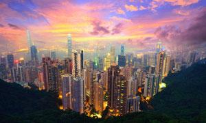 黄昏云霞与城市建筑物摄影高清图片