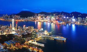 夜晚维港两岸城市风光摄影高清图片