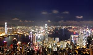 夜晚俯瞰香港城市风光摄影高清图片