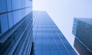 蓝色玻璃幕墙高楼大厦摄影高清图片