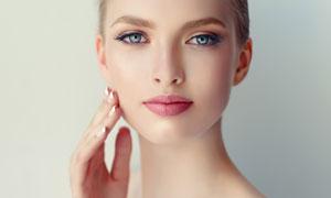 红唇妆容美女人物模特摄影高清图片