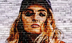 创意的墙面涂鸦特效PSD模板