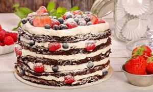 多层水果蛋糕近景特写摄影高清图片