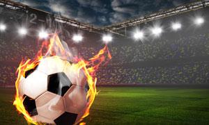 燃烧着的足球主题创意设计高清图片