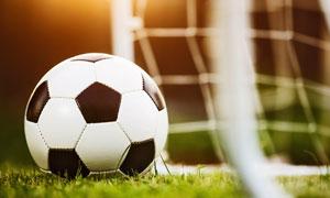摆放在球门附近的足球摄影高清图片