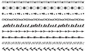 手绘主题风格分割线装饰PS笔刷