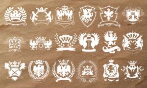 20款高清晰欧式徽章设计PS笔刷