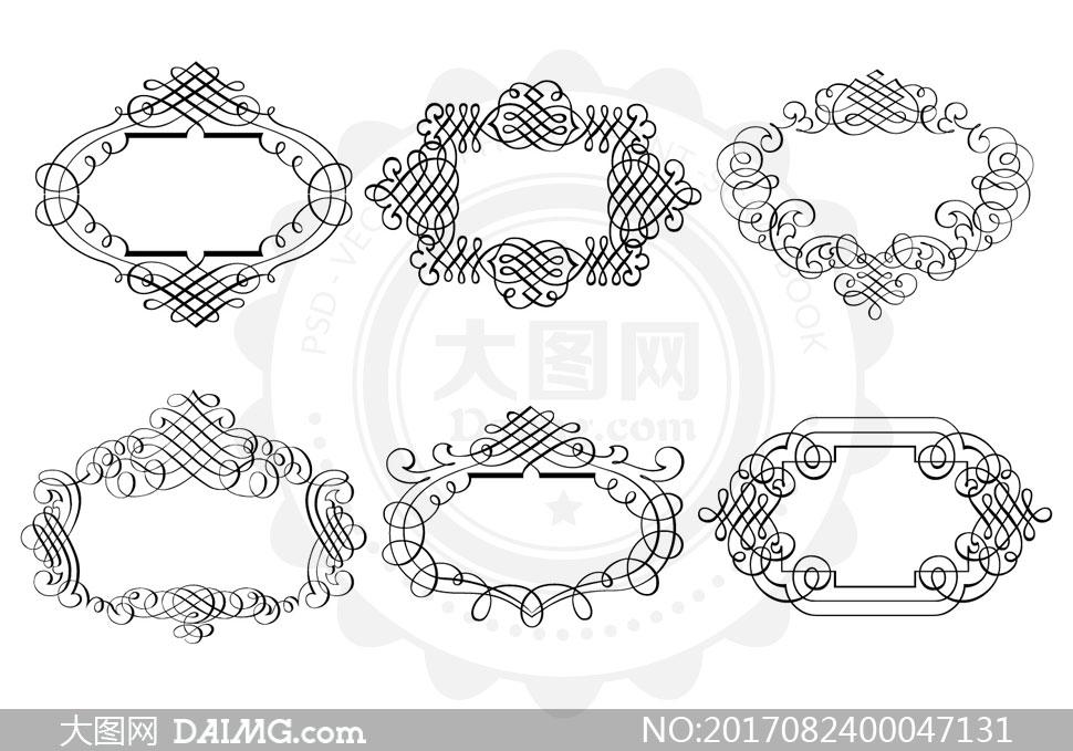 欧式线条花纹边框装饰ps笔刷