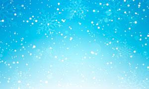 冬季卡通雪景和雪花边框PS笔刷
