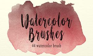 44款高清晰绚丽水彩涂抹PS笔刷