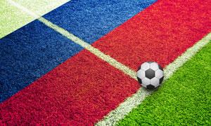 放在白线上的足球创意设计高清图片
