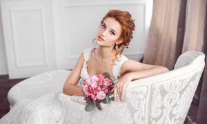 白色婚纱美丽新娘人物摄影高清图片