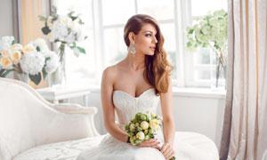 侧偏造型秀发新娘人物摄影高清图片