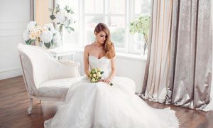 洁白婚纱装扮美女人物摄影高清图片