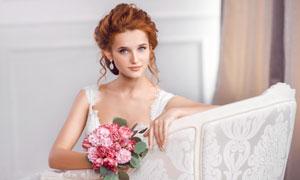 盘头装扮婚纱美女人物摄影高清图片
