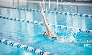 在泳池中奋力往前游的人物摄影图片