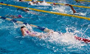 翻腾着水花的室内泳池摄影高清图片