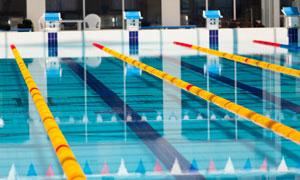 比赛规格布置室内泳池摄影高清图片