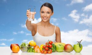健康饮水膳食主题美女摄影高清图片
