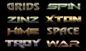 12款质感的金属板艺术字PS样式