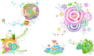 花纹图案与热气球插画元素矢量素材