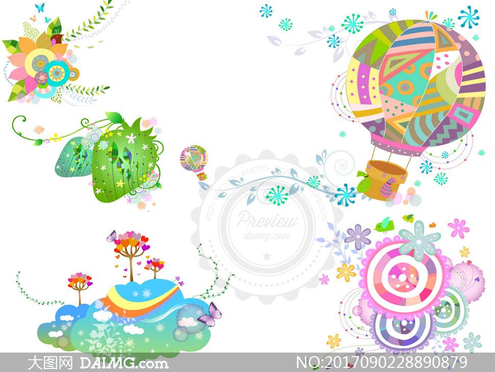 线条五彩缤纷多彩炫彩插画植物藤蔓枝叶热气球花朵绿叶叶子树叶花瓣图片