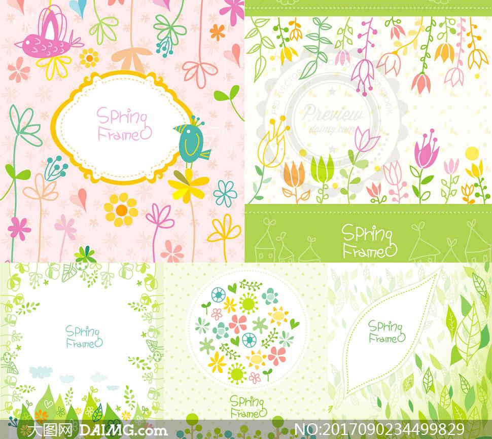 树叶小花装饰清新春天主题矢量素材