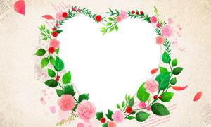 鲜花与藤蔓组成的边框设计分层素材