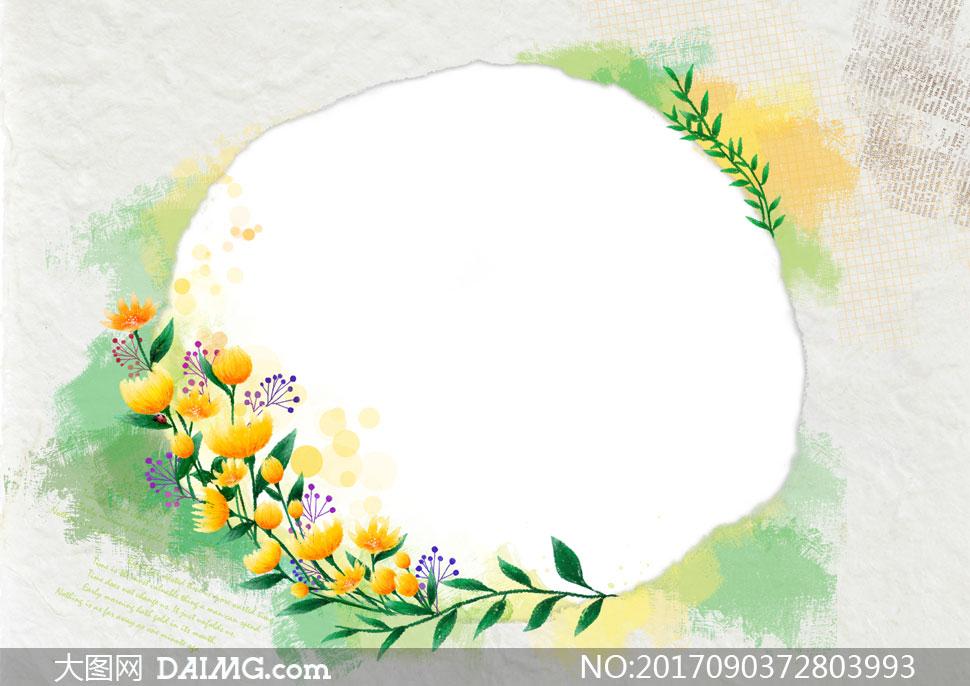 水彩效果花朵藤蔓边框设计分层素材