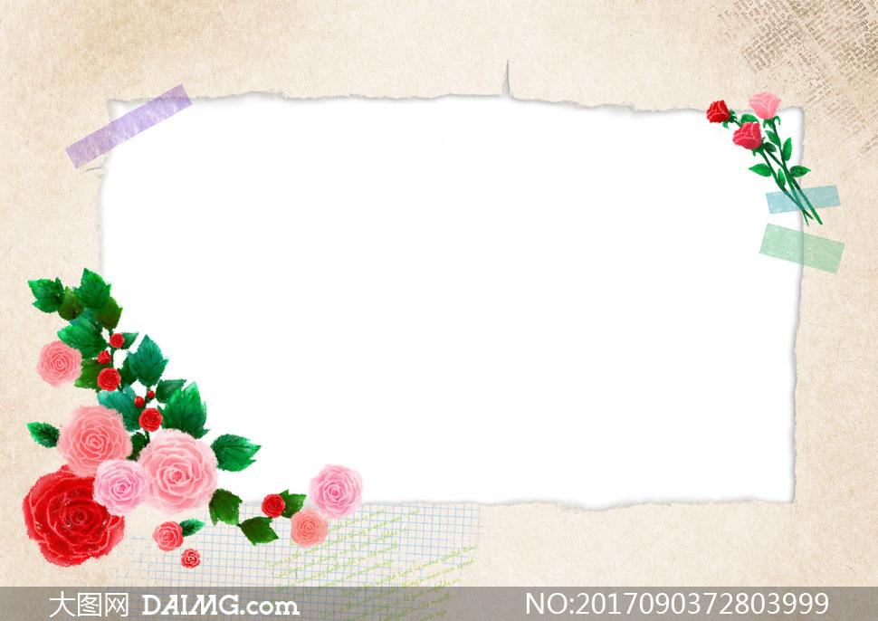 绿叶玫瑰花朵装饰边框设计分层素材
