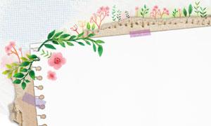 水彩花草装饰纸张背景设计分层素材