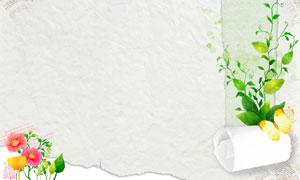 纸卷与蝴蝶花草装饰等创意分层素材
