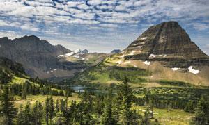 湖畔山峦树丛自然风景摄影高清图片