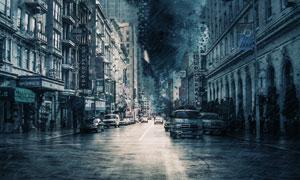 正遭受风暴袭击的城市创意高清图片