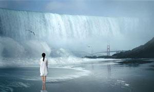 金门大桥与人物的背影创意高清图片