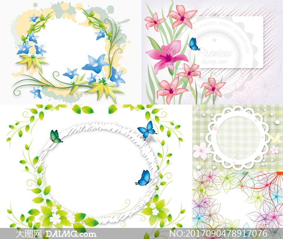 矢量图设计素材创意设计春天边框树叶叶子绿叶花草花朵鲜花植物藤蔓花