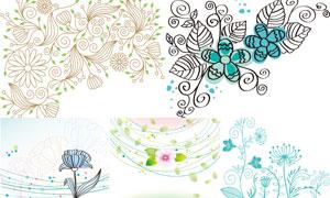 绿叶花朵与植物花纹图案创意矢量图