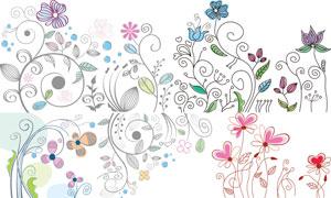 花花草草装饰花纹图案设计矢量素材