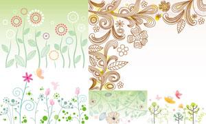 时尚创意花草花纹图案设计矢量素材
